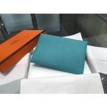 Hermes Calvi Card Holder Case Handstitched Taurillon Clemence Calfskin, Turquoise Blue 7B RS11221
