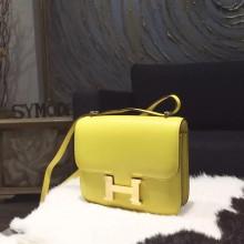 Hermes Constance 18cm Epsom Calfskin Original Leather Handstitched Gold Hardware, Soufre C9 RS08829
