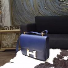 Hermes Constance 23cm Epsom Calfskin Original Leather Handstitched Gold Hardware, Blue Saphir 7K RS04970