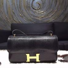 Hermes Constance Elan 30cm Lizard Skin Original Leather Handstitched Gold Hardware, Noir Black RS18308
