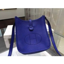 Hermes Evelyne Mini TPM Taurillon Clemence Palladium Hardware Handstitched High Quality, Blue Electric 7T RS07241