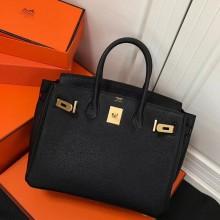 Hermes Horseshoe Birkin 35cm Togo Calfskin Original Leather Bag Handstitched Gold Hardware, Noir CK89/Rouge Casaque Q5 Interior RS04044