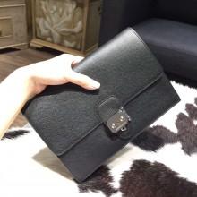 Hermes Jet Pochette Clutch Epsom Calfskin Bag Palladium Hardware Handstitched, Noir RS15894