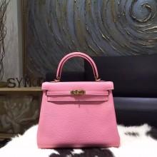 Hermes Kelly 25cm Taurillon Clemence Calfskin Original Leather Bag Handstitched Gold Hardware, Pink 5P RS16485