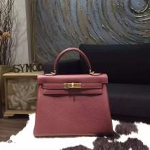 Hermes Kelly 28cm/32cm Togo Calfskin Original Leather Bag Handstitched, Rouge H CK55 RS00045