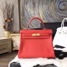 Hermes Kelly 28cm Swift Calfskin Bag Handstitched Gold Hardware, Rose Jaipur T5 RS10917