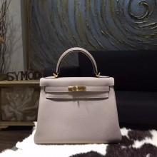 Hermes Kelly 28cm Togo Calfskin Bag Handstitched Gold Hardware, Gris Tourterelle CK81 RS10382