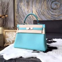 Hermes Kelly 28cm Togo Calfskin Bag Handstitched Palladium Hardware, Lagon Blue 7V RS09234