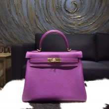 Hermes Kelly 28cm Togo Calfskin Original Leather Bag Handstitched Gold Hardware, Anemone P9 RS18263