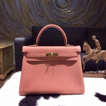 Hermes Kelly 32cm Taurillon Clemence Calfskin Bag Handstitched Gold Hardware, Rose The Laiton/Rose Tea 3L RS02064