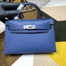 Replica Hermes Kelly Mini II Bag In Blue Original leather 20cm Silver Hardware Bag RS26212