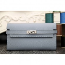 Hermes Kelly Longue Wallet In Blue Lin Epsom Leather RS14480