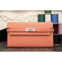 Hermes Kelly Longue Wallet In Crevette Clemence Leather RS11501