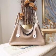 Hermes Lindy 26/30cm Taurillon Clemence Calfskin Bag Handstitched, Gris Touretelle CK81 RS13782