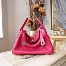 Hermes Lindy 26/30cm Taurillon Clemence Calfskin Bag Handstitched, Ruby B5 RS11628