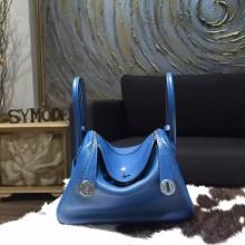 Hermes Lindy 26cm/30cm Taurillon Clemence Calfskin Bag Handstitched, Blue de Galice S7 RS21105