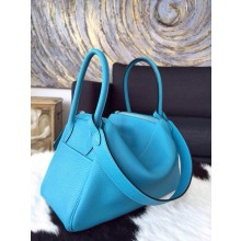Hermes Lindy 30cm Taurillon Clemence Calfskin Leather Palladium Hardware Hand Stitched, Turquoise 7B RS07141
