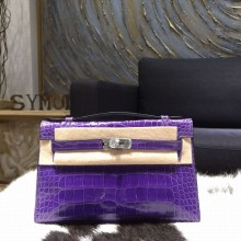 Hermes Mini Kelly Pochette 22cm Alligator Palladium Hardware, Ultraviolet 5L RS08072