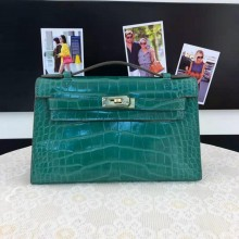Hermes Mini Kelly Pochette 22cm Alligator Palladium Hardware, Vert Veronese 6H RS10470