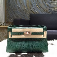 Hermes Mini Kelly Pochette 22cm Lizard Palladium Hardware, Vert Emeraude 6Q RS13376
