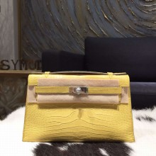 Hermes Mini Kelly Pochette 22cm Matte Alligator Palladium Hardware Handstitched , Mimosa M9 RS18681