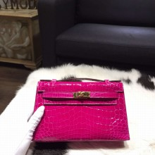 Hermes Mini Kelly Pochette 22cm Shiny Alligator Gold Hardware Handstitched, Rose Scheherazade J5 RS05992