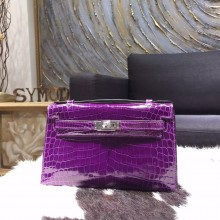 Hermes Mini Kelly Pochette 22cm Shiny Alligator Palladium Hardware Handstitched, Amethyst 9G RS02320