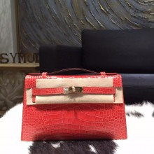 Hermes Mini Kelly Pochette 22cm Shiny Alligator Palladium Hardware Handstitched, Bougainvillier A5 RS21382