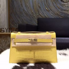Hermes Mini Kelly Pochette 22cm Shiny Alligator Palladium Hardware Handstitched, Mimosa M9 RS13945