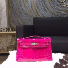 Hermes Mini Kelly Pochette 22cm Shiny Alligator Palladium Hardware Handstitched, Rose Sheherazade J5 RS08489