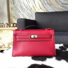 Hermes Mini Kelly Pochette 22cm Swift Calfskin Leather Palladium Hardware, Ruby B5 RS15160