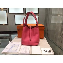 Hermes Picotin Lock 18cm Bag Taurillon Clemence Leather Palladium Hardware High Quality, Pink 5P RS09506