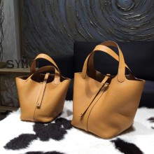 Hermes Picotin Lock Bag 18cm/22cm Taurillon Clemence Palladium Hardware Hand Stitched, Kraft CK2H RS18698