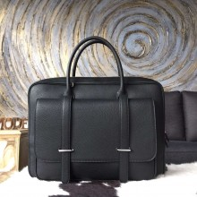 Hermes Steve 38cm Clemence Calfskin Original Leather Bag Handstitched Palladium Hardware, Noir Black RS13882