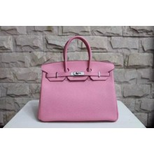 High Quality Fake Hermes Birkin 25cm Epsom Calfskin Bag Handstitched Palladium Hardware, Rose Azalee 8W RS20668