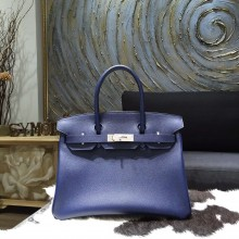 High Quality Fake Hermes Birkin 30cm Epsom Calfskin Bag Handstitched Palladium Hardware, Blue Saphir CK73 RS20083