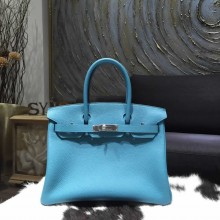 High Quality Hermes Birkin 30cm Togo Calfskin Bag Handstitched Palladium Hardware, Blue Turqouise 7B RS03006