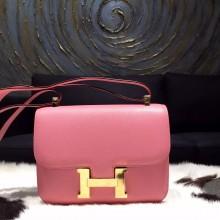High Quality Imitation Hermes Constance 23cm Epsom Calfskin Original Leather Handstitched Gold Hardware, Rose Confetti 1Q RS06003