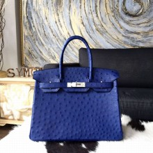 High Quality Knockoff Hermes Autruche Ostrich Birkin 30cm Bag Handstitched Palladium Hardware Handstitched, Blue Iris CK77 RS00473