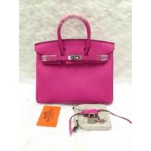 Imitation Hermes Birkin 25cm Lizard Skin Original Leather Bag Handstitched, Fuschia Pink 5J RS14925