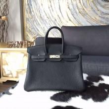 Imitation Hermes Birkin 25cm Togo Calfskin Leather Bag Palladium Hardware Handstitched, Black Noir RS14013