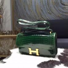 Imitation Hermes Constance Elan 23cm Shiny Crocodile Skin Bag Handstitched, Vert Fonce CK67 RS09114