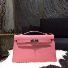Imitation Hermes Mini Kelly Pochette 22cm Epsom Calfskin Bag Handstitched Palladium Hardware, Rose Confetti 1Q RS04451