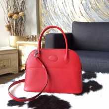 Imitation High Quality Hermes Bolide 27cm Epsom Calfskin Leather Bag Palladium Hardware Handstitched, Rouge Casaque Q5 RS10756