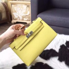 Luxury Hermes Mini Kelly Pochette 22cm Epsom Calfskin Leather Palladium Hardware Handstitched, Soufre C9 RS10880
