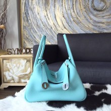 Quality Hermes Lindy 26cm/30cm Taurillon Clemence Calfskin Bag Handstitched, Blue Atoll 3P RS16239