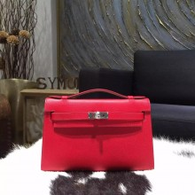 Quality Hermes Mini Kelly Pochette 22cm Epsom Calfskin Leather Palladium Hardware, Rouge Casaque Q5 RS19522