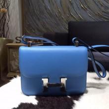 Replica AAA Hermes Constance 23cm Epsom Calfskin Original Leather Handstitched Palladium Hardware, Blue Paradise 2T RS17383