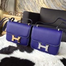 Replica Hermes Constance 19cm Epsom Calfskin Original Leather Handstitched, Blue Electric 7T RS14705