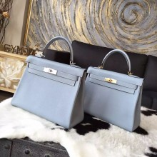 Replica Hermes Kelly 28cm/32cm Taurillon Clemence Bag Handstitched Palladium/Gold Hardware, Blue Lin J7 RS16531